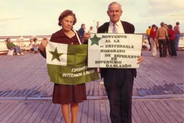 Ehepaar Loorits auf dem Weg nach Kopenhagen zum 60. Esperanto-Weltkongress, 1975